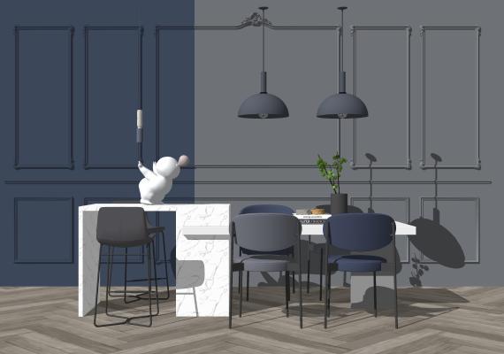 现代简约餐桌椅吊灯组合