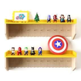 现代儿童玩具墙面装饰架3D模型【ID:235830715】