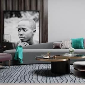 现代轻奢沙发组合3D模型【ID:651005735】