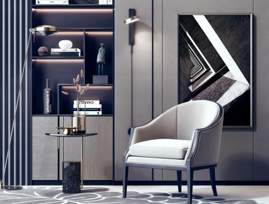 現代單人沙發椅書柜組合3D模型【ID:645779480】