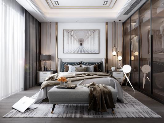 現代臥室3D模型【ID:549225224】