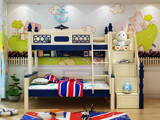 美式簡約兒童上下床3D模型【ID:844146854】