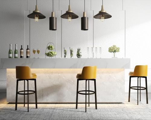 现代吧台椅 吊灯 酒水 饰品组合