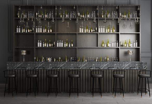 现代酒吧台酒柜酒吧椅吊灯组合3D模型【ID:840940074】