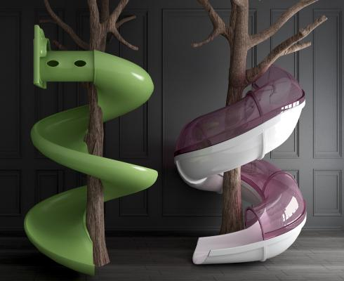 现代儿童滑滑梯3D模型【ID:453763109】