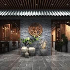 中式自助餐厅3D模型【ID:545936108】