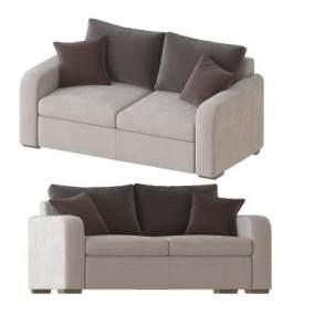 现代布艺双人沙发3D模型【ID:634486717】