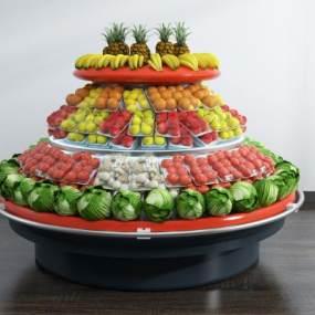 现代超市水果蔬菜货架3D模型【ID:335803365】