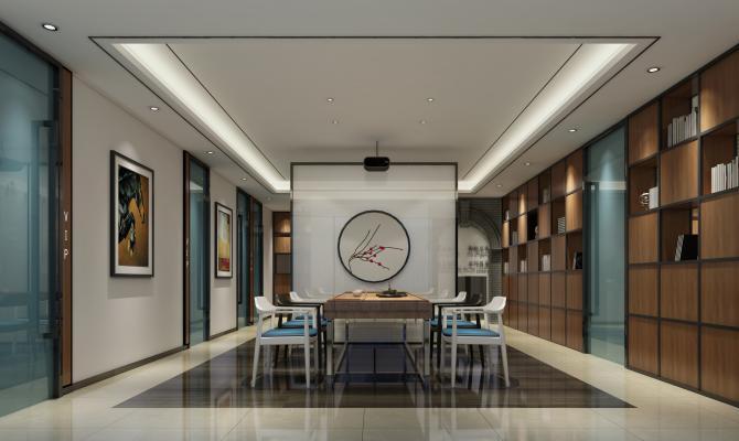新中式会客厅3D模型【ID:734654586】