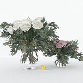 現代玻璃花瓶花卉組合3D模型【ID:248196875】