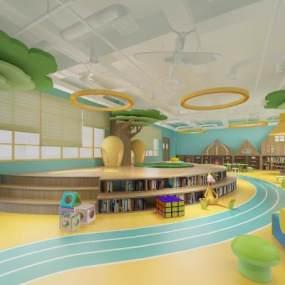 现代幼儿园图书馆3D模型【ID:936029664】