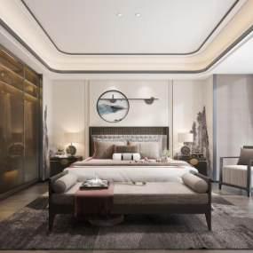 新中式卧室 3D模型【ID:540921231】
