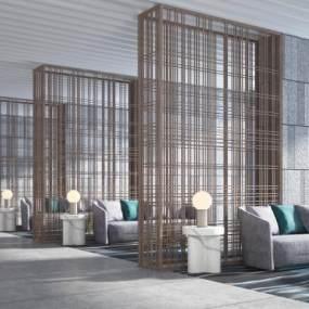 新中式酒店大堂接待区3D模型【ID:746349523】