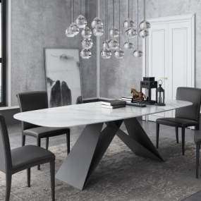 現代洽談桌椅組合3D模型【ID:949466136】