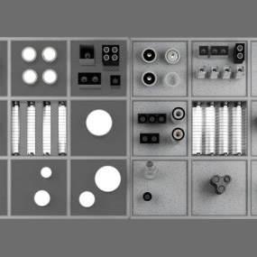 现代射灯顶灯组合模型3D模型【ID:831975347】