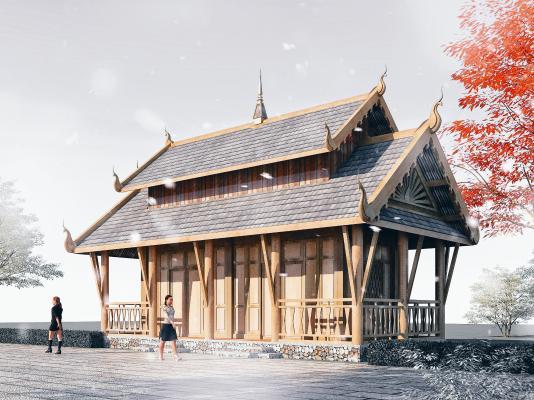 東南亞風格酒店3D模型【ID:146170967】