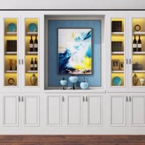 歐式簡約酒柜3D模型【ID:648898276】