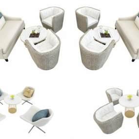 现代酒店大堂售楼部休闲会客桌椅3D模型【ID:835765931】