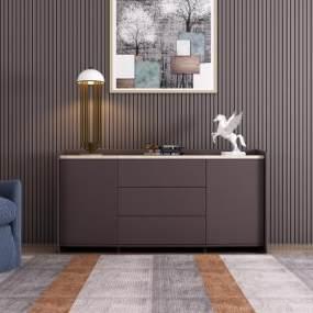 现代极简实木电视柜3D模型【ID:153399018】