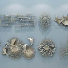 现代金属墙饰装饰品3D模型【ID:236155703】