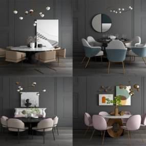 现代轻奢餐桌椅3D模型【ID:853984896】