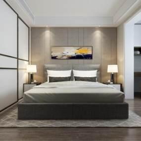 现代港式卧室3D模型【ID:542706200】