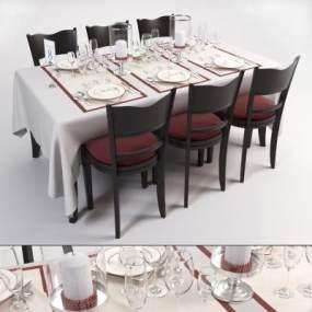 现代餐桌椅组合3D模型【ID:832151845】