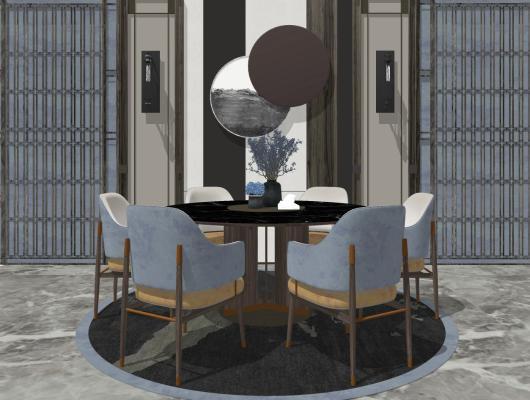 新中式現代輕奢圓形餐桌椅SU模型【ID:650688681】