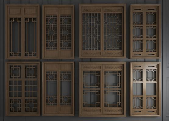 新中式實木雕花推拉門窗戶3D模型【ID:345482281】