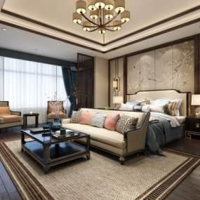 新中式主卧床 3D模型【ID:541297230】