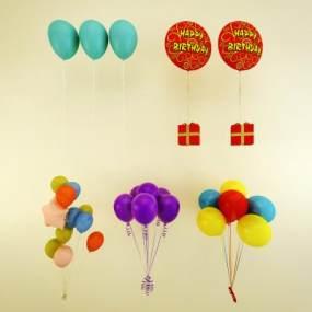 现代儿童气球玩具组合3D模型【ID:334850461】