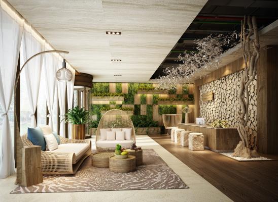 新中式酒店前台3D模型【ID:734469750】