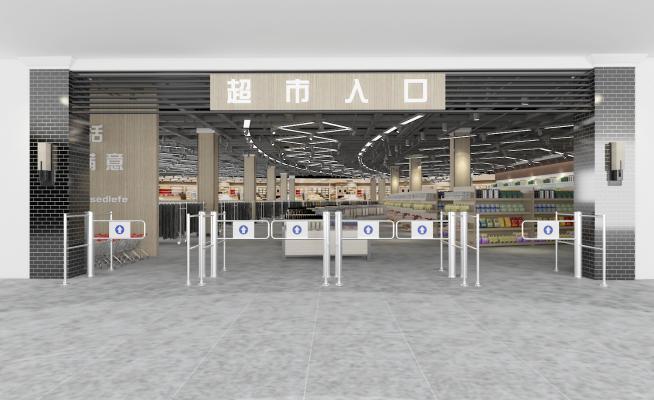 超市入口3D模型【ID:142476195】