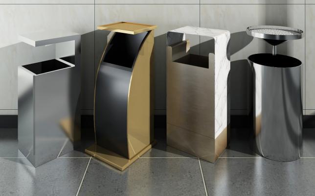 现代公共空间垃圾桶3D模型【ID:344105627】