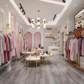 现代轻奢女服装店3D模型【ID:144491059】