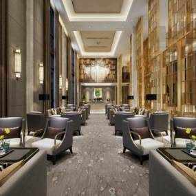 现代酒店会客厅3D模型【ID:732023553】