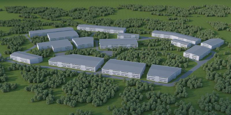 现代工业厂房3D模型【ID:245772360】