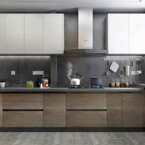 现代风格厨房橱柜3D模型【ID:533504310】