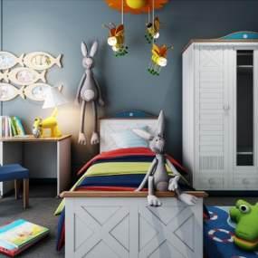 现代儿童房单人床衣柜床具组合3D模型【ID:632882119】