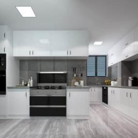 现代厨房3D模型【ID:532179343】