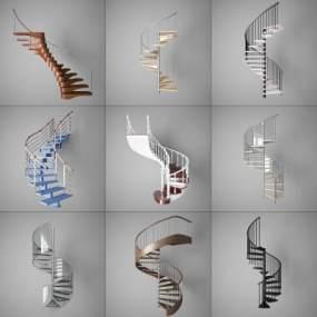 现代阁楼室内旋转楼梯3D模型【ID:345424507】
