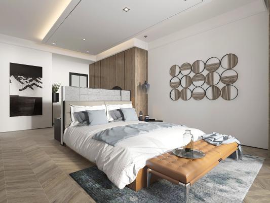 现代主卧室3D模型【ID:542309299】