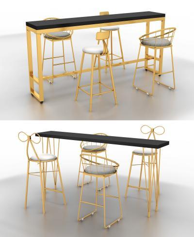 现代轻奢风格吧桌吧椅组合