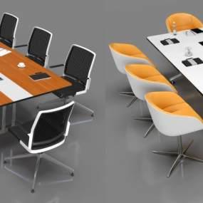 现代小型会议桌椅3D模型【ID:743785432】