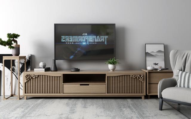 新中式电视柜3D模型【ID:950499999】