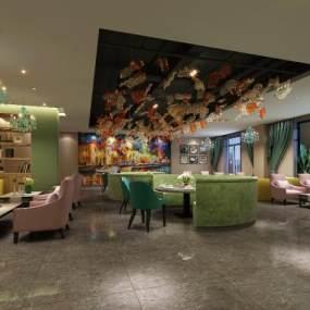 欧式酒店大厅餐饮3D模型【ID:631351243】