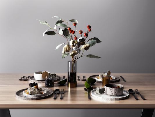 現代餐具碗具組合3D模型【ID:648746329】