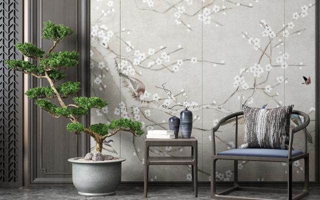新中式休闲椅 盆栽