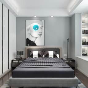 现代黑白灰客餐厅卧室 3D模型【ID:541244035】