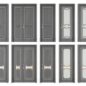 新中式双开门子母门单开门组合 3D模型【ID:342315180】